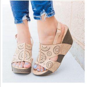 Refresh Mara Wedge Brown Slingback Strap Sandals